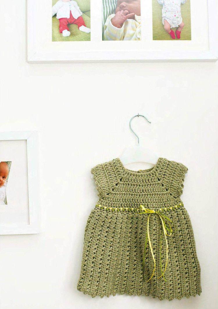 Baby Girl Pinafore Dress Free Crochet Pattern   Girls pinafore dress ...