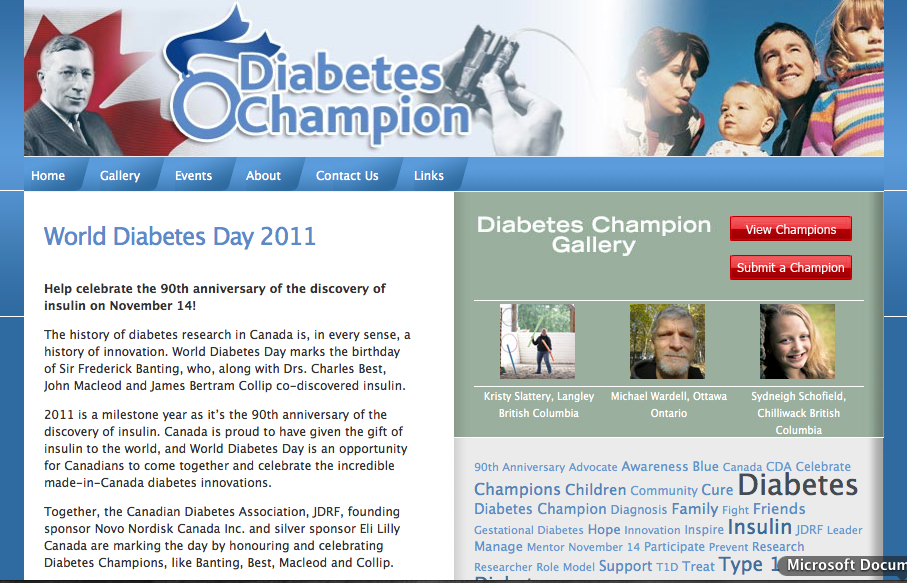This Microsite Was Created To Promote World Diabetes Day And To