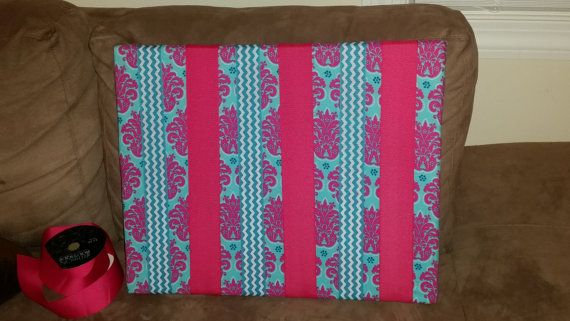 Hot pink and Teal damask bow board