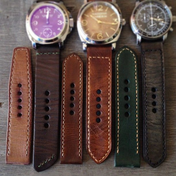 A lineup of handmade leather watch straps launching tomorrow. Wrist goodness.