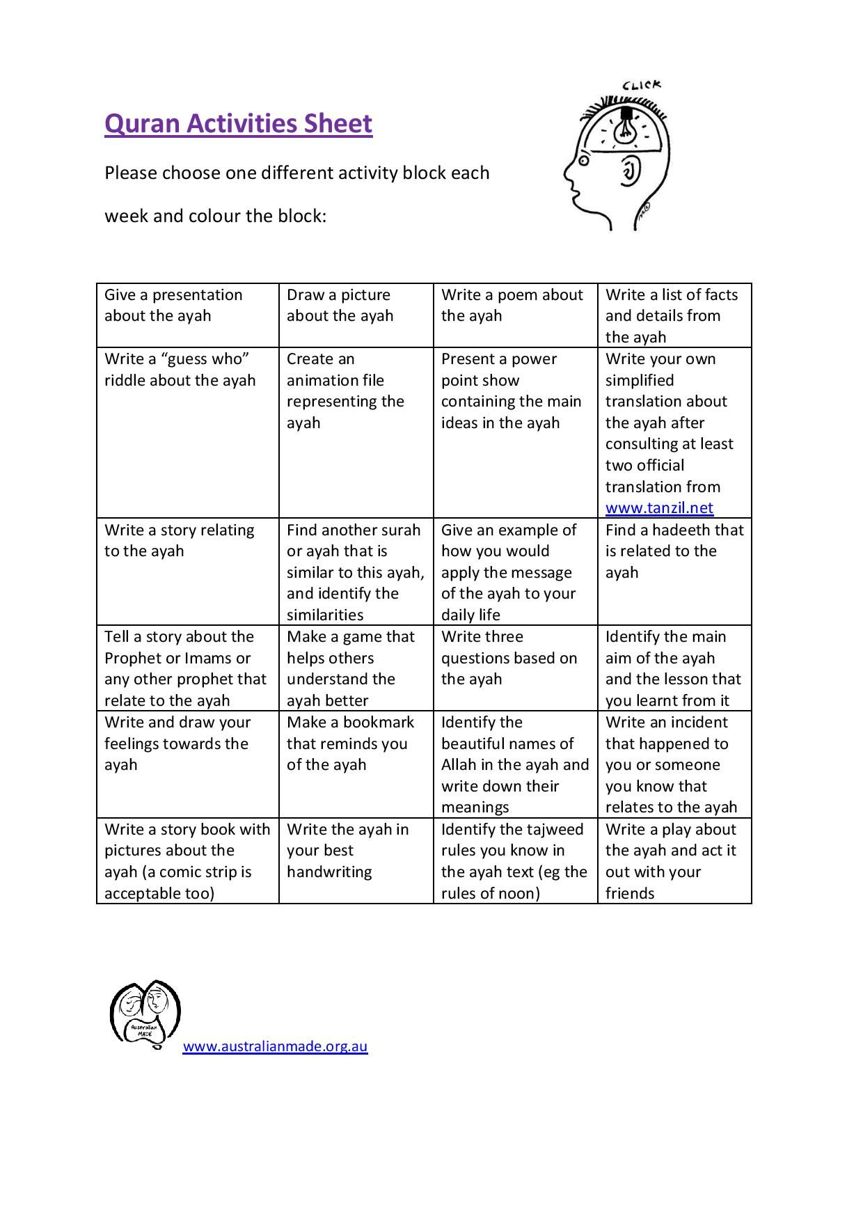 This Activity Sheet Is Excellent To Use When Teaching A