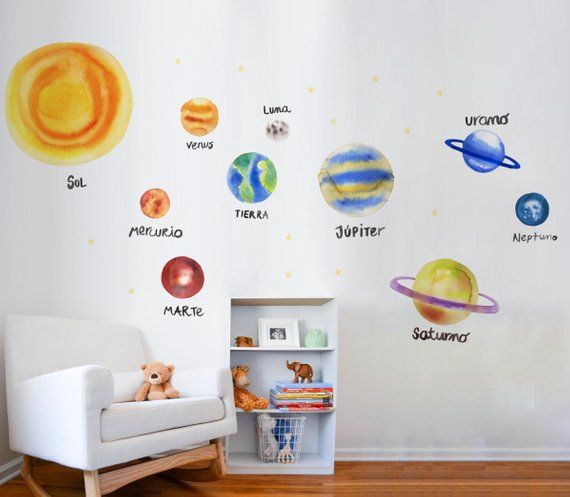 Solar System Cartoon Wall Sticker Planet Outer Space Vinyl Kids Bedroom Decals