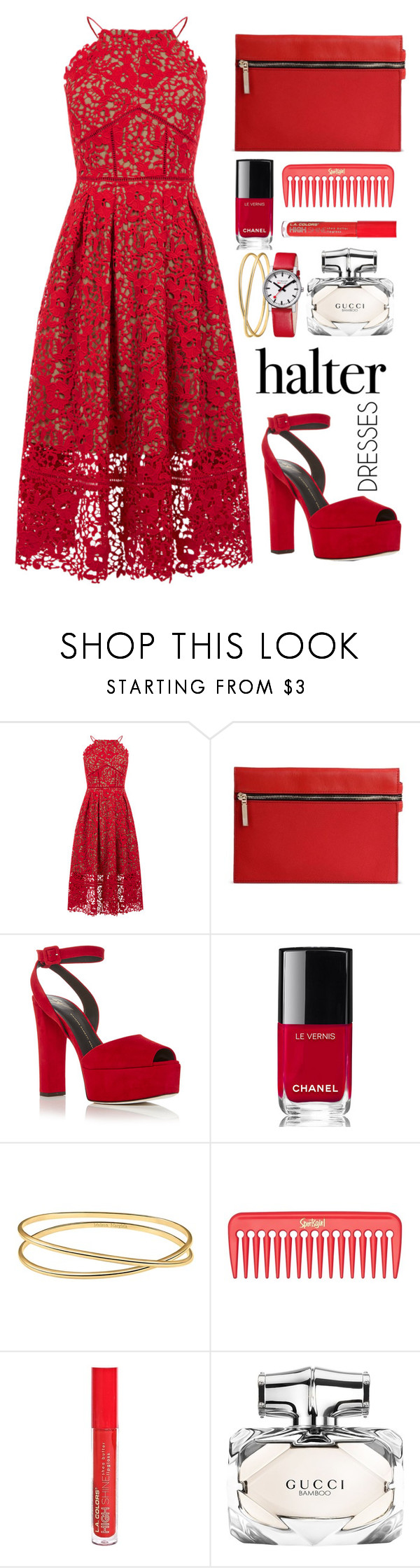 """""""Red"""" by lina-horan69 ❤ liked on Polyvore featuring Warehouse, Victoria Beckham, Giuseppe Zanotti, Chanel, Maison Margiela, L.A. Colors, Gucci, Mondaine and halterdresses"""