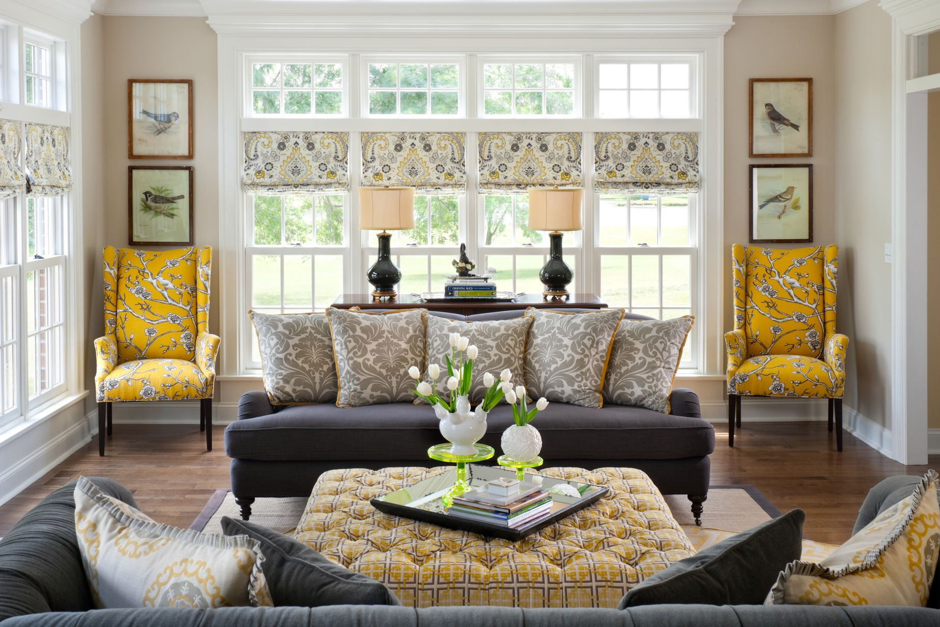 yellow and gray rooms  family room design living room