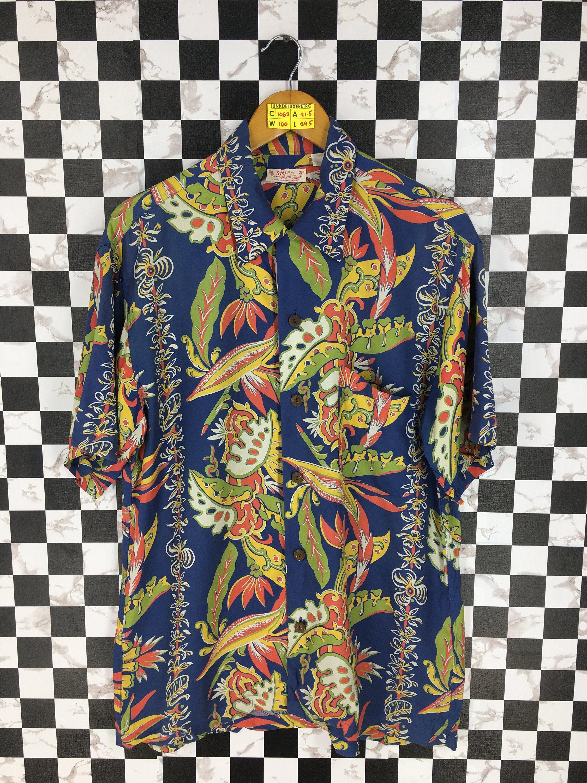 fbd8f4cfd Vintage 80's SUN SURF Hawaiian Shirt Large Aloha Beach Rockabilly Party  Shirt Multicolour Floral Surf Sailing