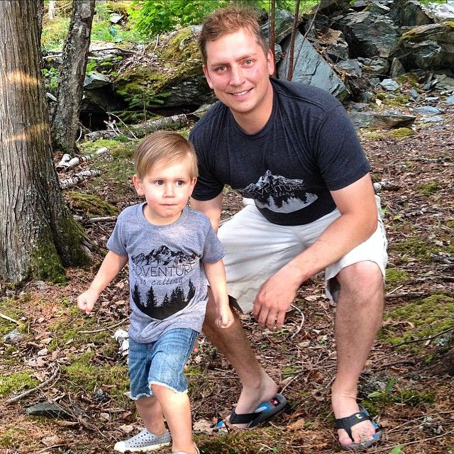 """Can you hear that?Get back to nature with our Men's and Children's """"Adventure is Calling"""" t-shirts. #littlebluecanoe #curatingcanada #adventure #twinning"""
