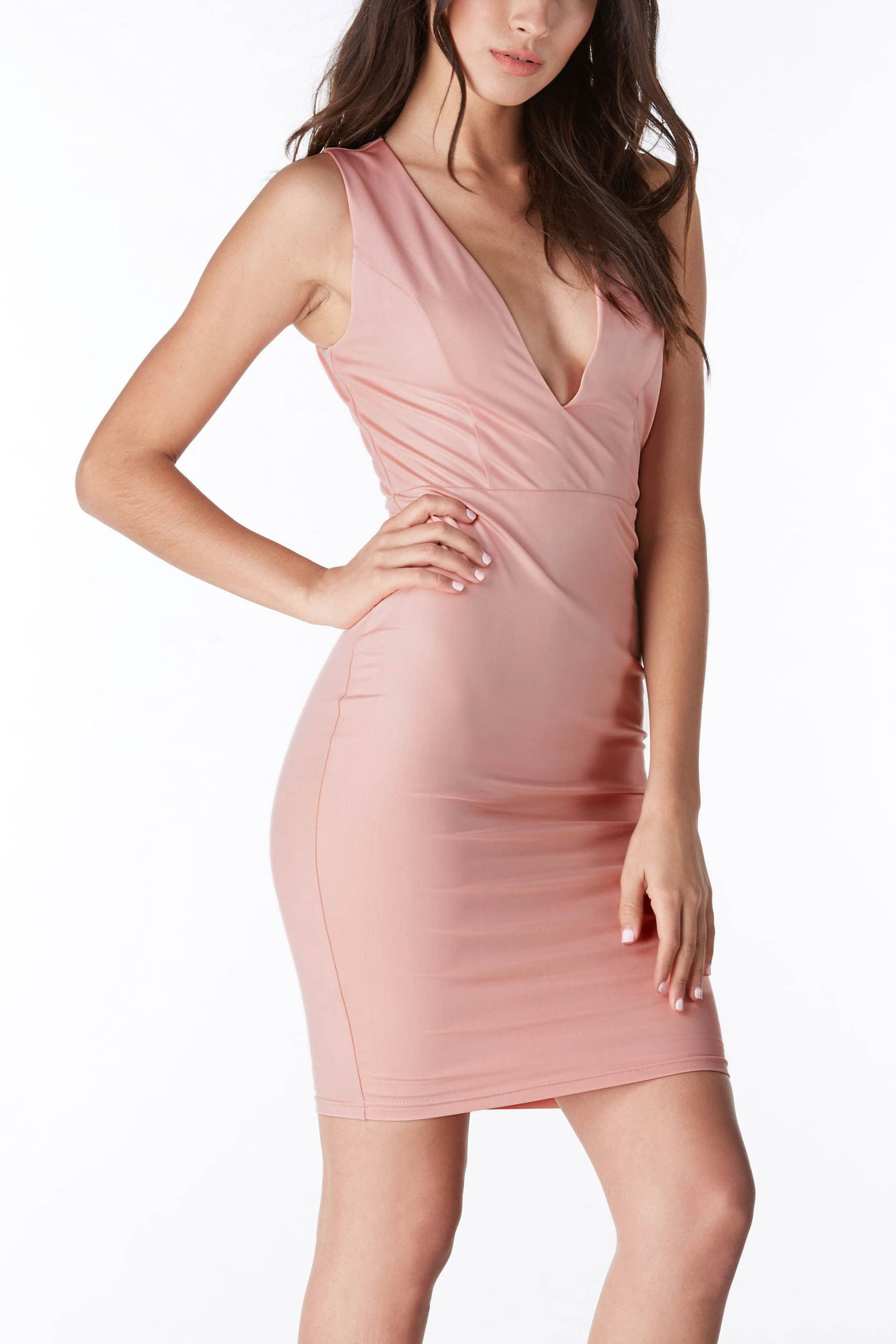 A beautiful midi dress featuring a plunging V-neck neckline and ...