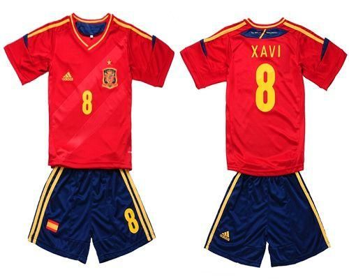 Spain #8 Xavi 2012/2013 Red Home Kid Soccer Country Jersey! Only $19.50USD