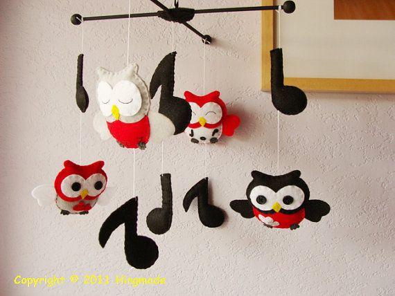 Black And Red Owls Baby Crib Mobile Owl Mobile Nursery Mobile