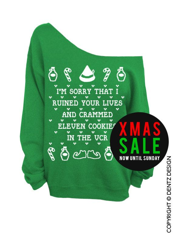 Elf Cookies Crammed Vcr Ugly Christmas Sweater Green Slouchy