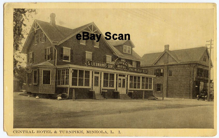 Old Postcard Liebmanns Central Hotel Turnpike Mineola Ny Ebay