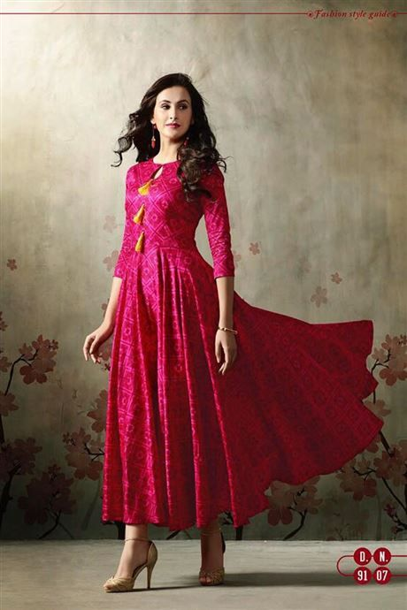 Wholesale Stylish Party Wear Long Gown Style Kurtis Catalog  b13601c17
