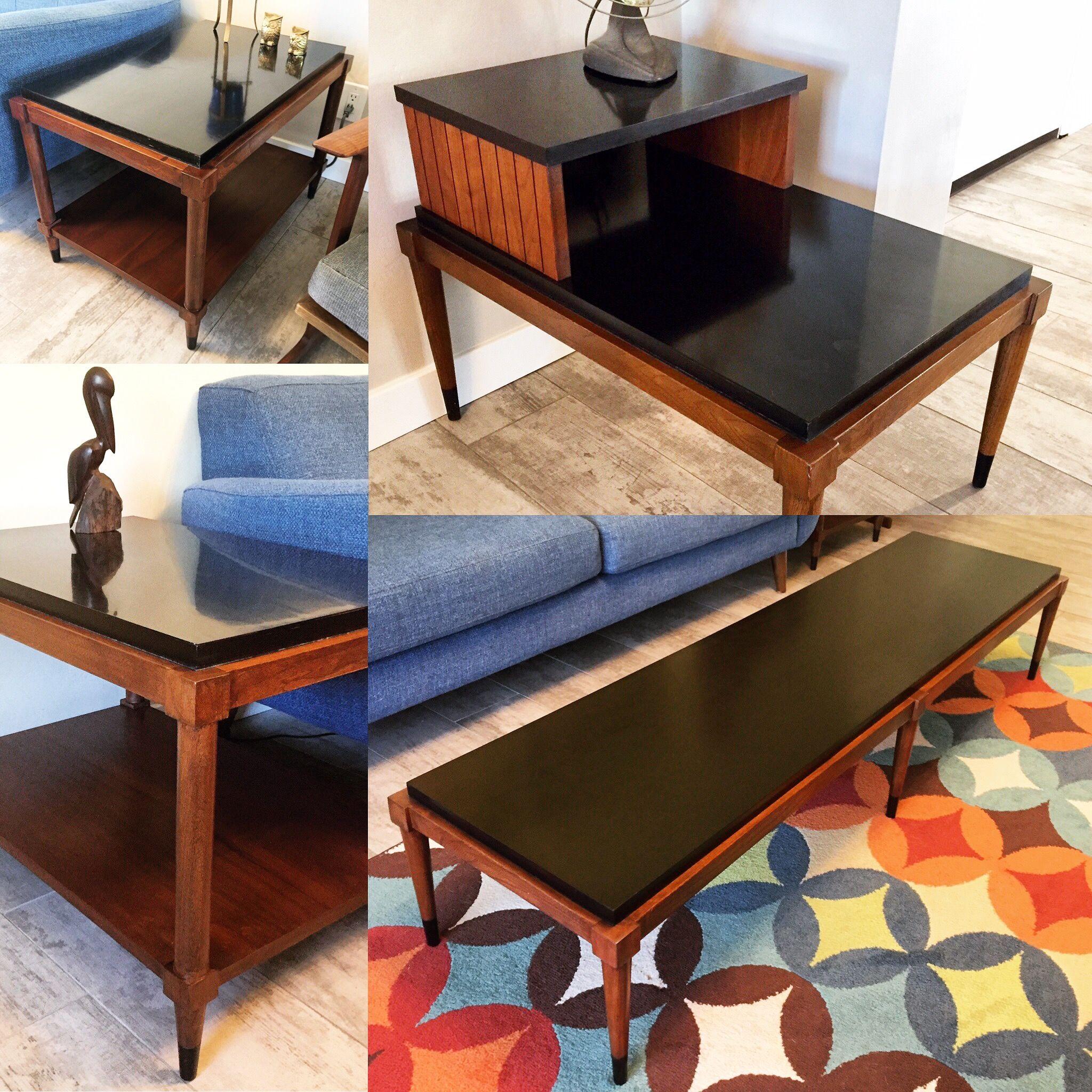 Mid Century Modern Black Laminate Lane Table Set Coffee Table Decor Table [ 2048 x 2048 Pixel ]