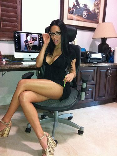 Hot In Little Black Dress And Gles Her Home Office