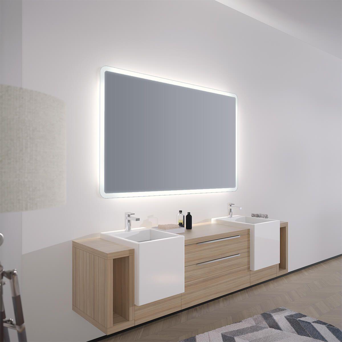 Spiegel Mit Abgerundeten Ecken Adela Spiegel Badspiegel Led Beleuchtung