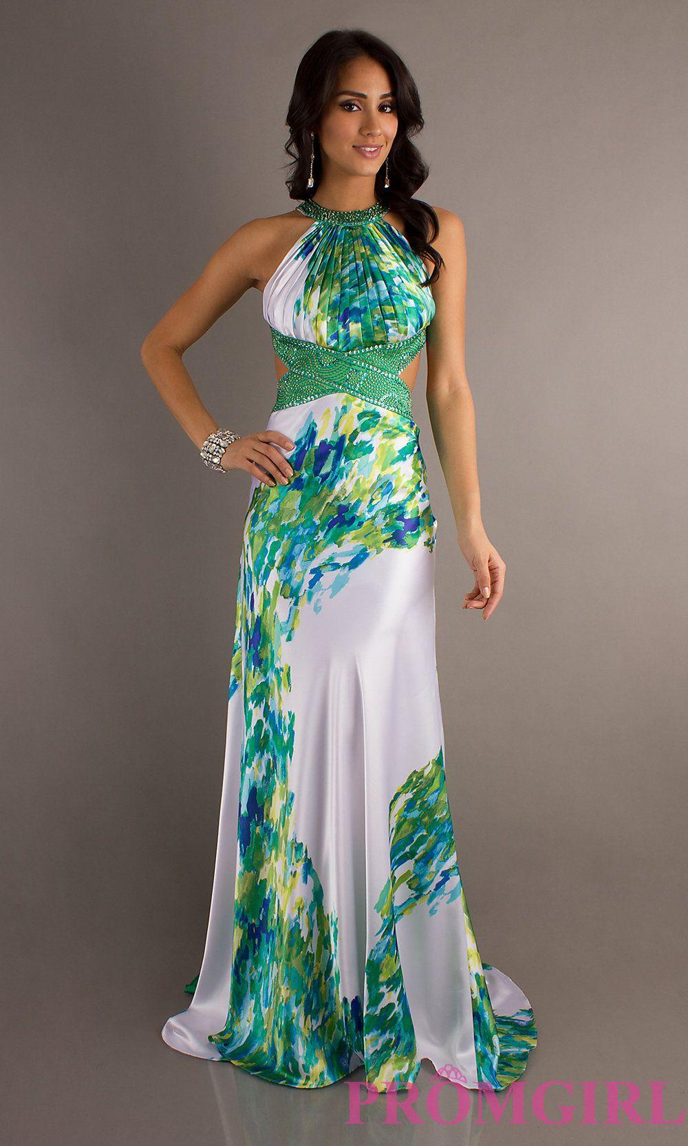 Printed Gown Dresses Halter Prom Dresses Long Print Prom Dresses