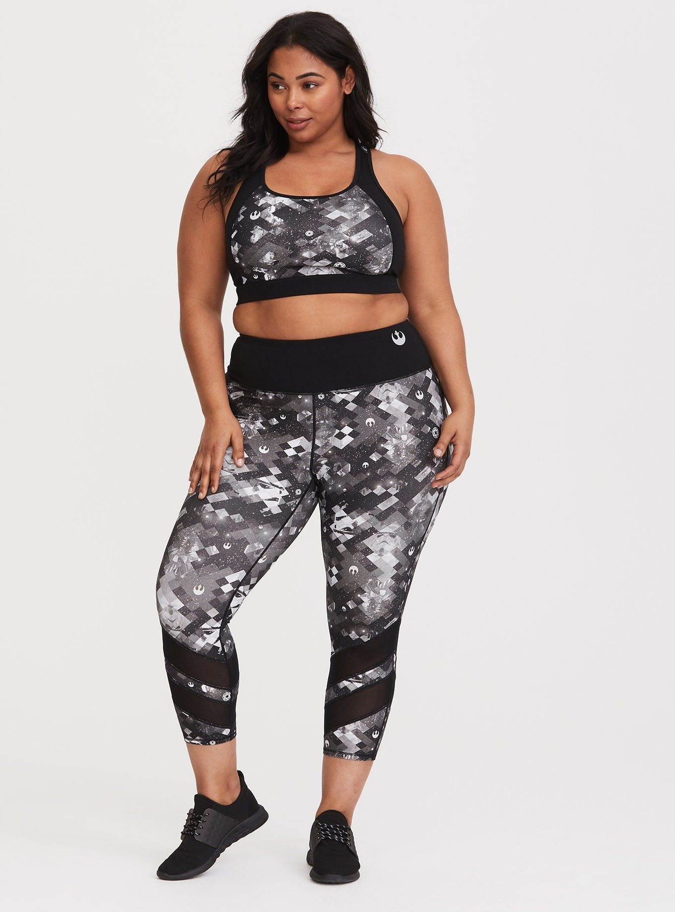 97700dc713277 Star Wars Sports Bra - Be one with the force in a monochromatic Star Wars  design with solid black paneling and 4-way stretch technology. Sizes 10-30