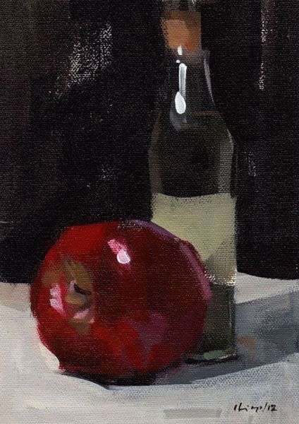 Original Painting Still Life Fruit Apple Red Kitchen 5x7 Acrylic Quick Study - Apple and Small Bottle by David Lloyd. $85.00, via Etsy.