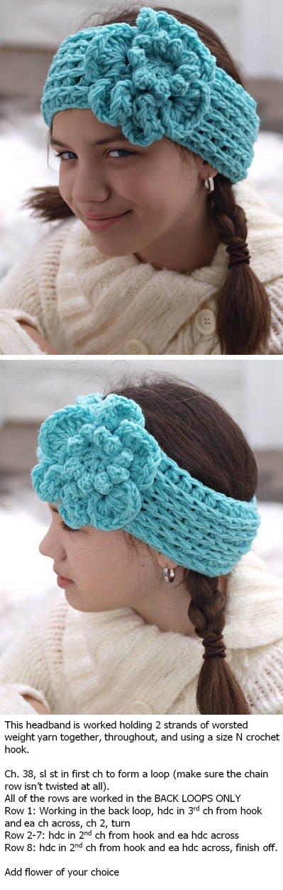 Crocheted ear warmer with flower | ganchillo | Pinterest | Tejido ...