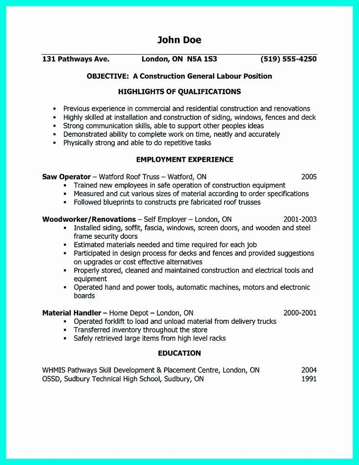 General construction worker resume fresh awesome
