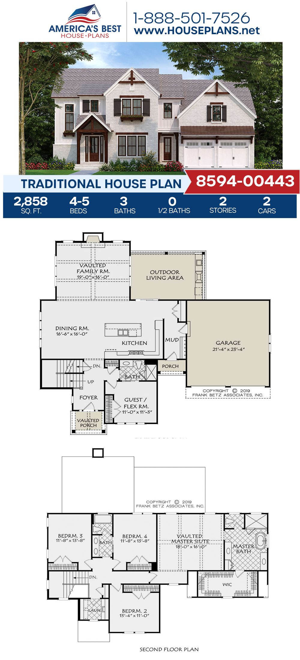 House Plan 8594 00443 Traditional Plan 2 858 Square Feet 4 5 Bedrooms 3 Bathrooms Traditional House Plan Dream House Plans House Plans