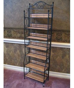 Wrought Iron And Wood Storage Shelf Furniture