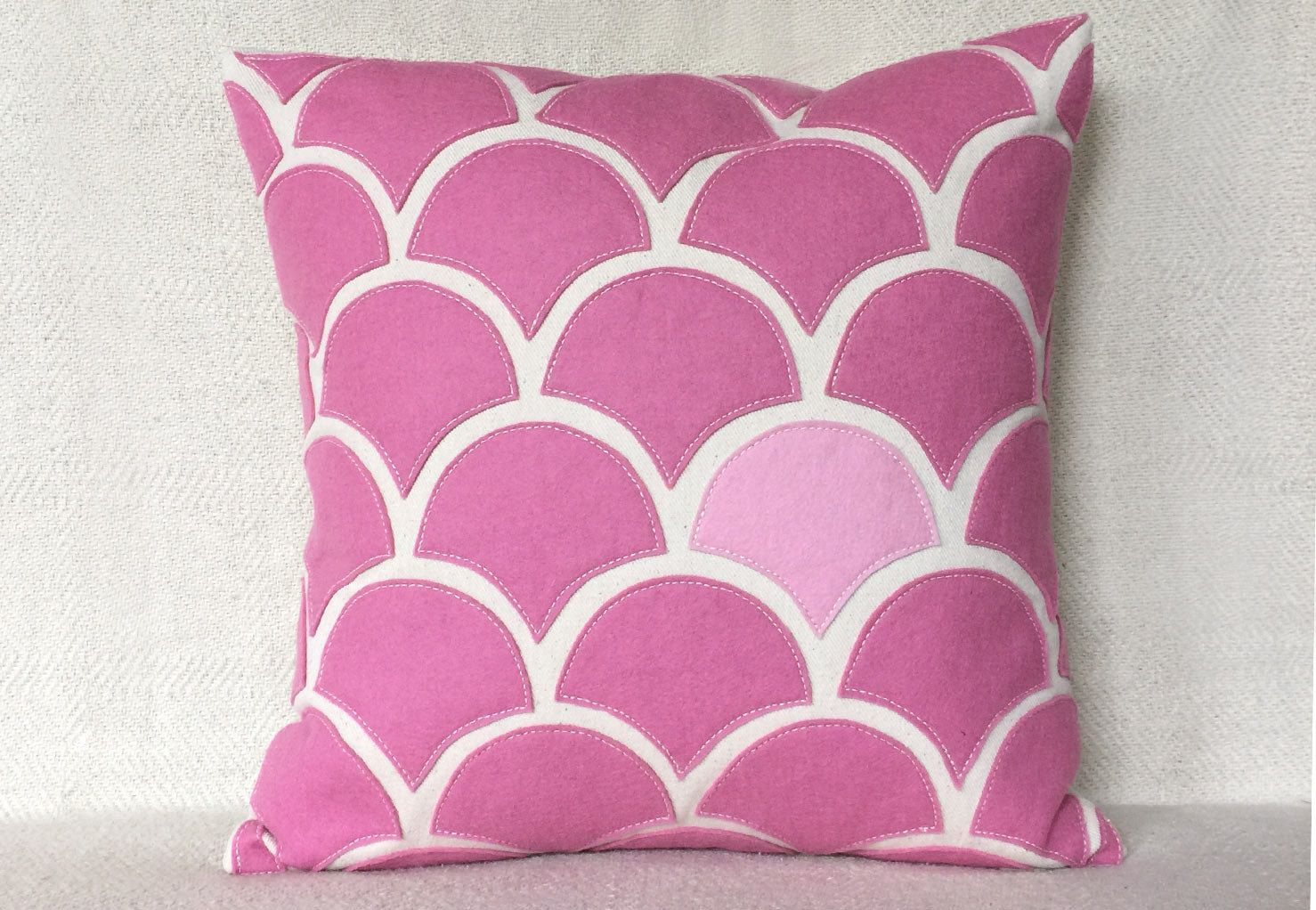 Pink wave pillow with wool felt applique on cotton canvas square