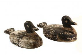 Pair Of Duck Decoys - Working Decoys In Black And White.