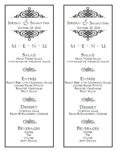 Free Printable Wedding Menu Templates  Stuff To Buy