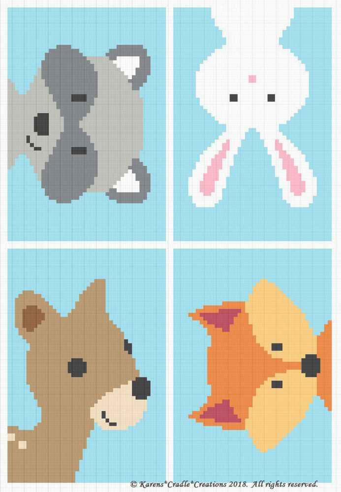 Photo of Details about Crochet Patterns – WOODLAND ANIMAL FRIENDS Baby BOY Graph/Chart Afghan Pattern