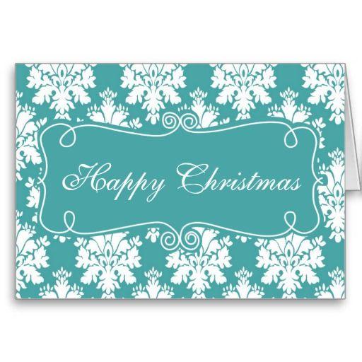 Elegant Blue Damask Happy Christmas Greeting Card Christmas Cards