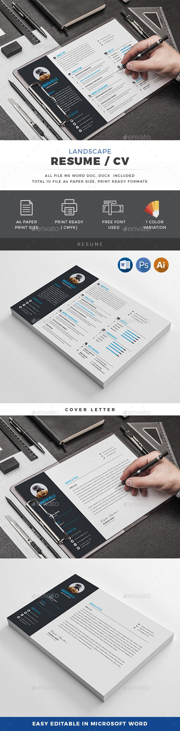 Landscape Resume | Cv template, Stationery design and Simple resume ...