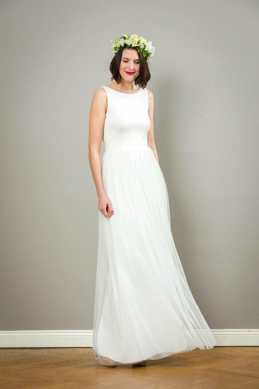 """Langes schlichtes Brautkleid """"Mara"""" mit Rückenausschnitt und"""