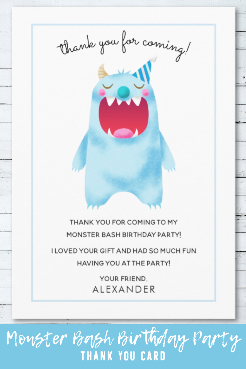 kids birthday thank you card  blue monster  zazzle