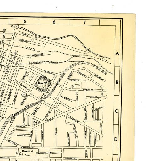 Akron Ohio 1937 Downtown Map Ohio Guide Collection family