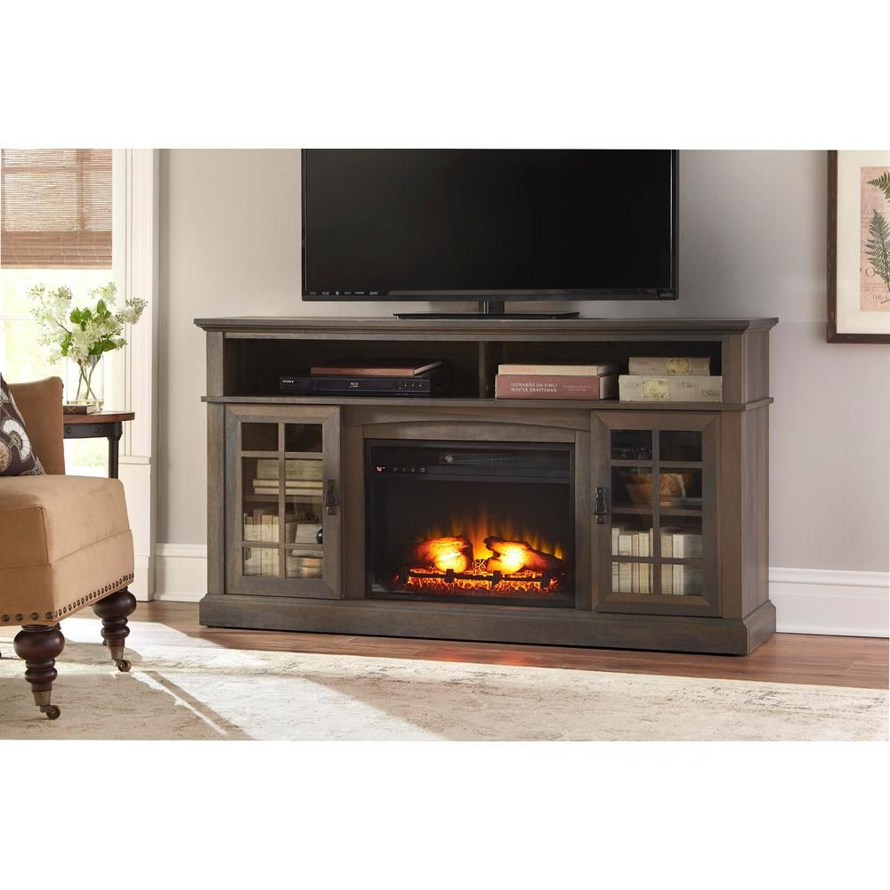 Home Decorators Collection Brookdale 60 In Freestanding Electric Fireplace Tv Stand Espresso Brown