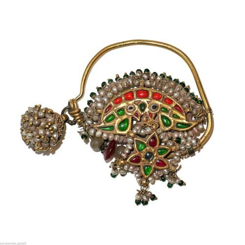 Details about (0733) Tamil Nadu Nosering, 22k Gold-Coloured Glass-Basra Pearls Fashion jewelry