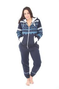 171d41e637 A NAVY AZTEC adult onesie suitable for both women and Men NAVY colour with  white blue accent chunky zip 65 cotton 35 Polyester This black all in one