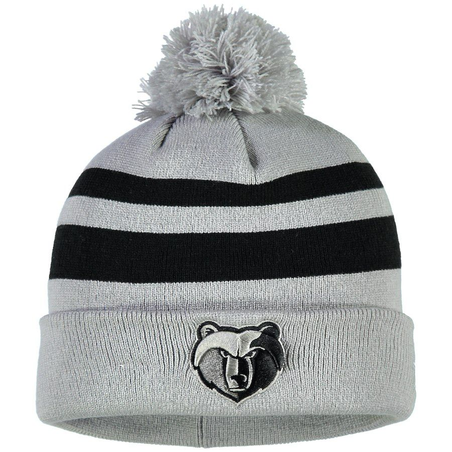 47167324f9a Men s Memphis Grizzlies New Era Gray Black Rebound Cuffed Knit Hat with  Pom