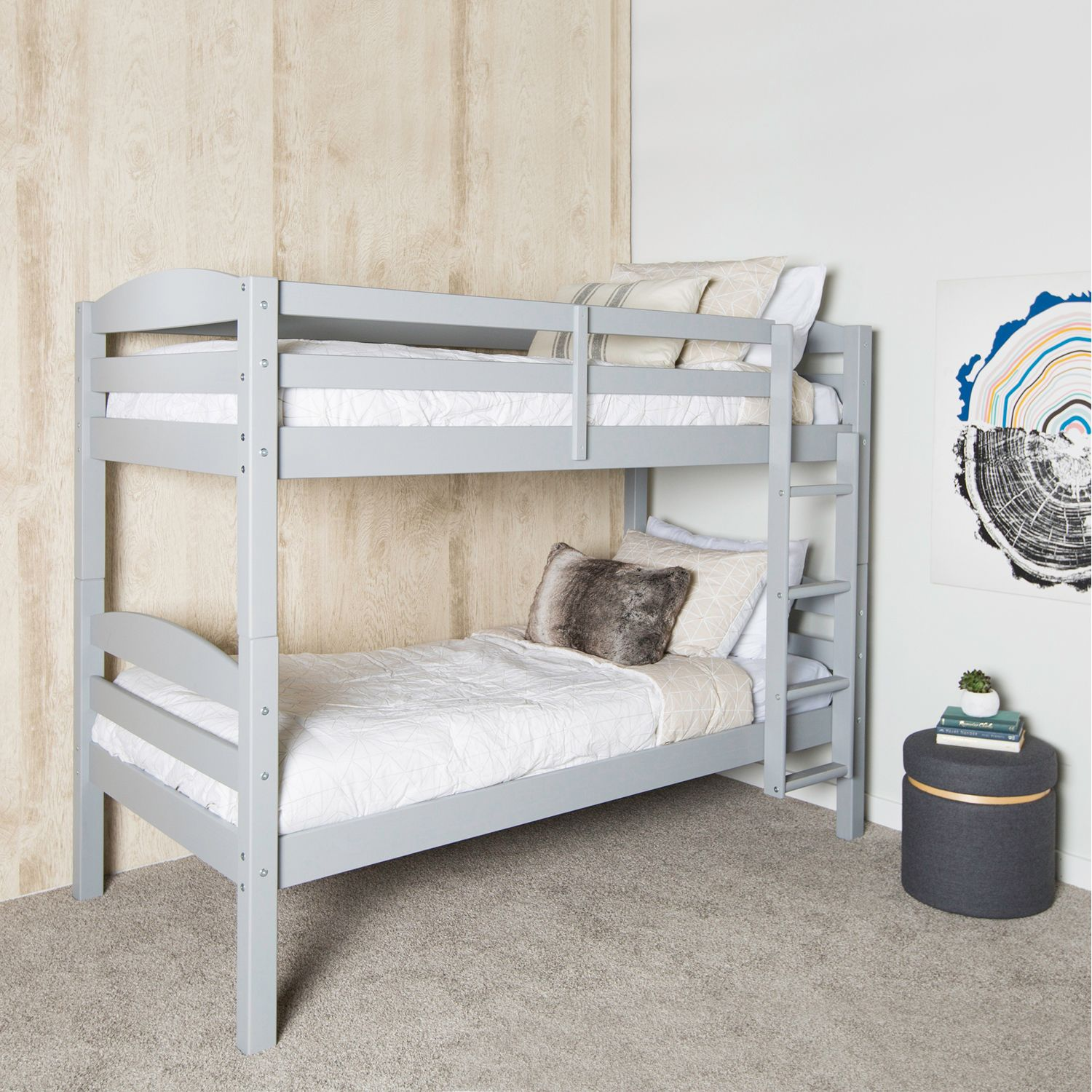 Kids Gray Wood Twin Over Twin Bunk Bed Twin Bunk Beds Wood Bunk