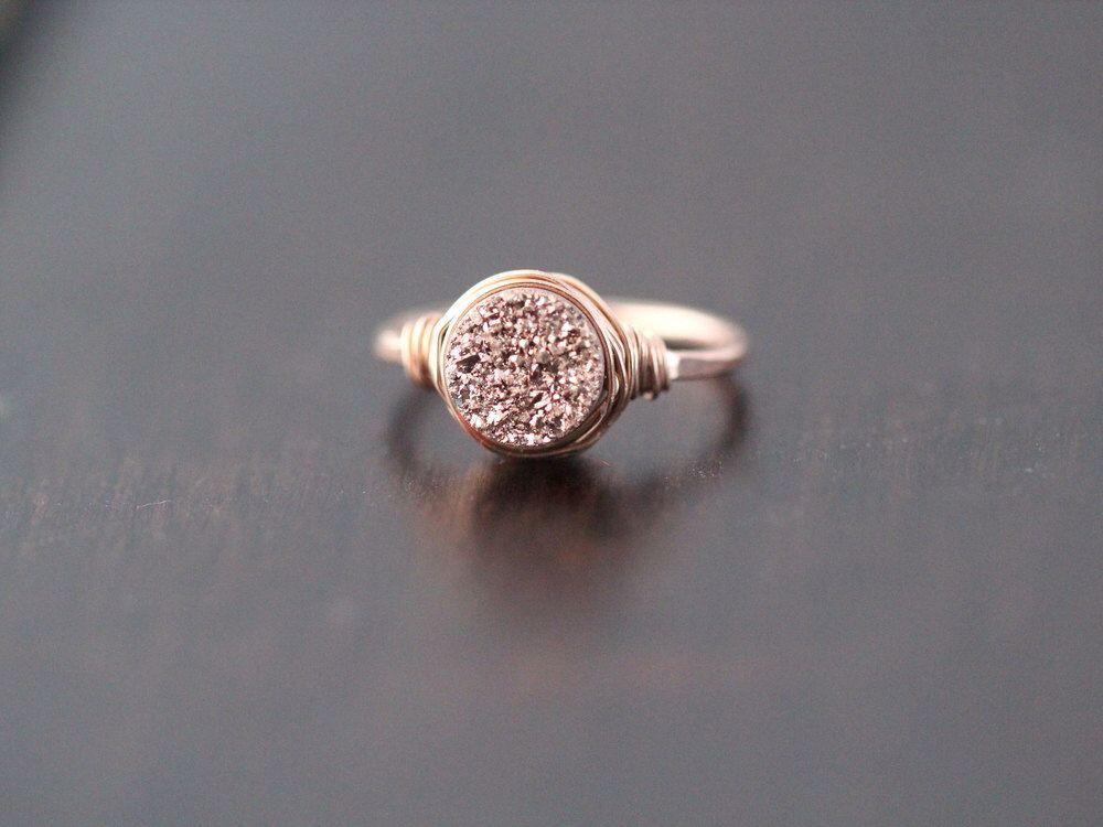 Druzy Ring , Rose Gold Gemstone Quartz , Gilded Handmade Ring , Valentines Day Gifts by SaressaDesigns on Etsy https://www.etsy.com/listing/207561060/druzy-ring-rose-gold-gemstone-quartz
