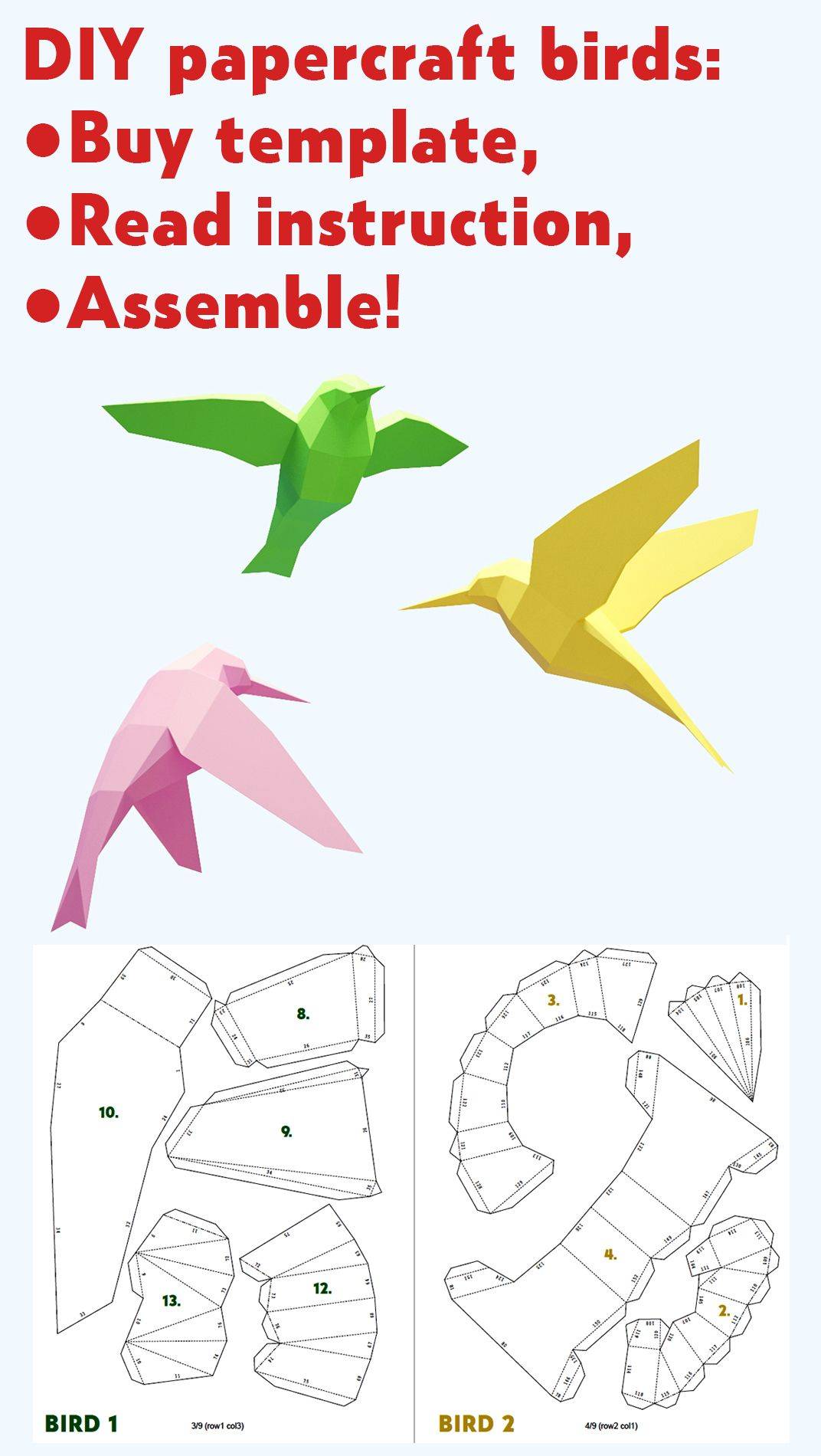 Diy Papercraft Birds Paper Craft Sculpture Pdf Template Simple Model