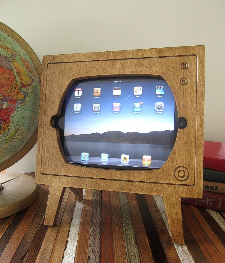 Handmade Natural Stained Wood Retro TV Ipad Dock by miterbox, $60.00