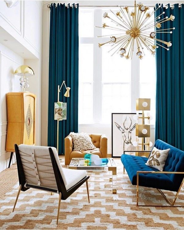 Check Out This Modern Living Room Decor Idea With Accent Rugs. Love It! #