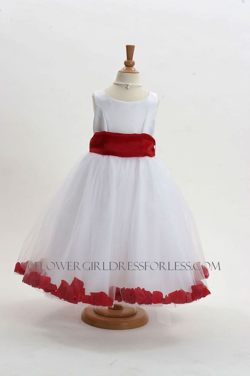 Flower Girl Dress Style 152 Choice Of White Or Ivory Dress With Red