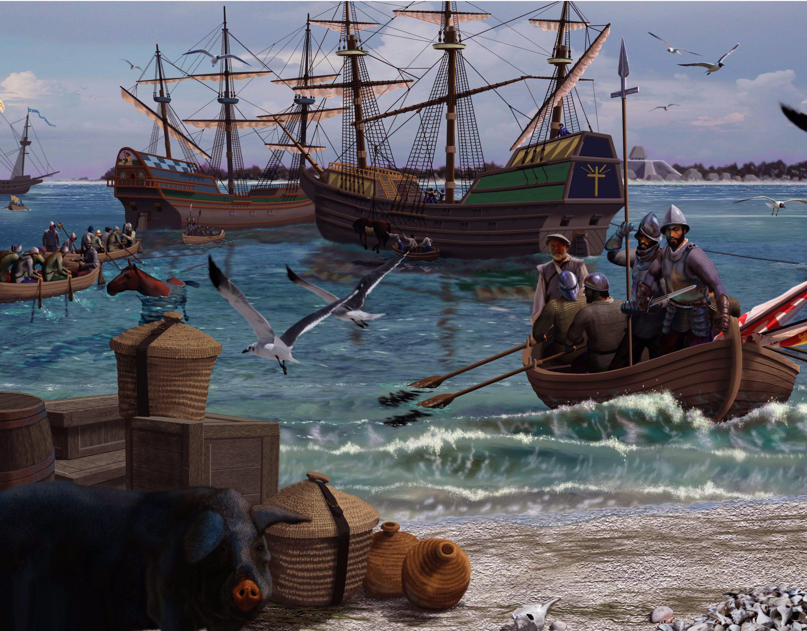 Hernando De Soto Arriving In The New World