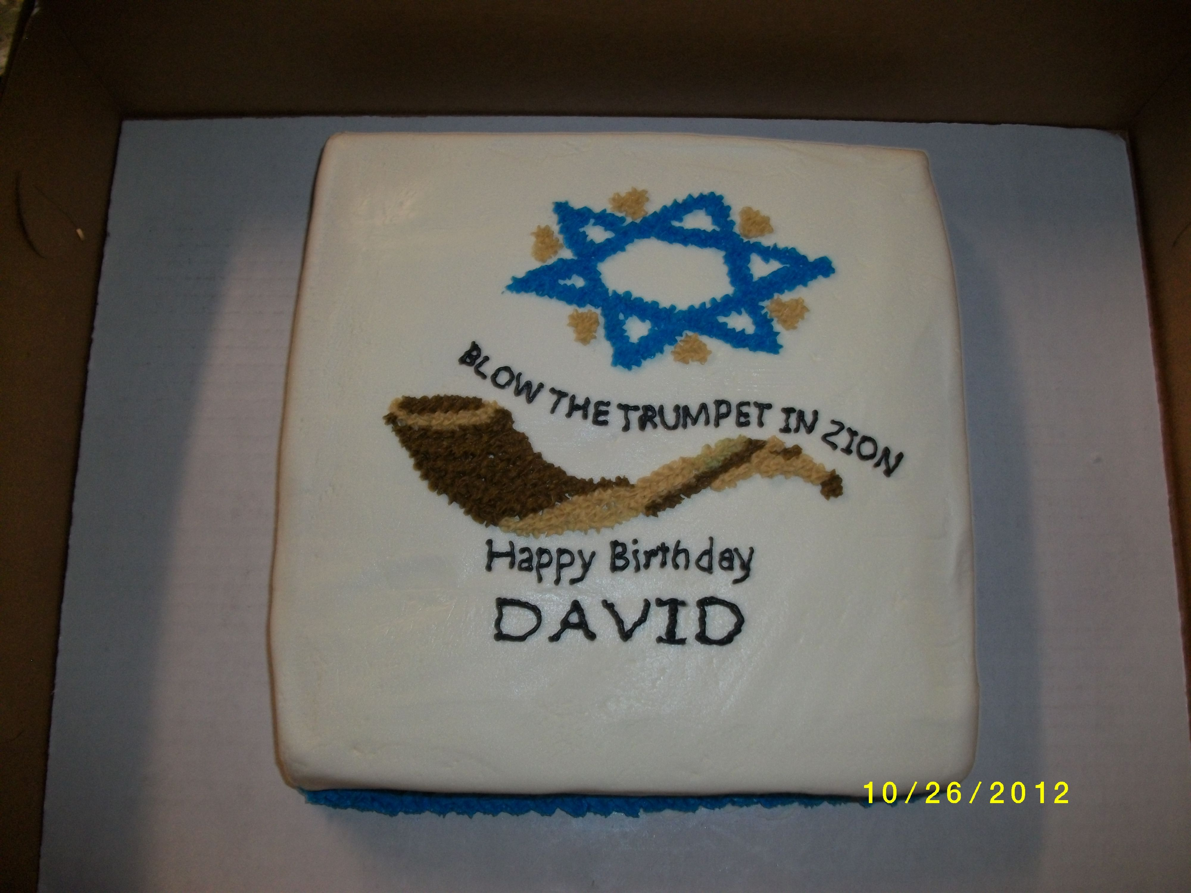 Star of David and Shofar Cake