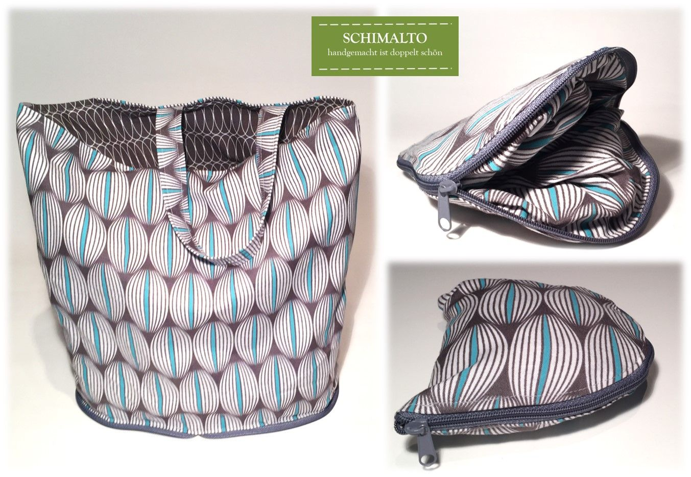 anleitung zusammenfaltbarer einkaufsbeutel einkaufstasche mit rei verschluss taschen. Black Bedroom Furniture Sets. Home Design Ideas