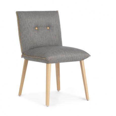 chaise moderne en bois et tissu avec boutons soda mobitec - Chaise Bois Moderne