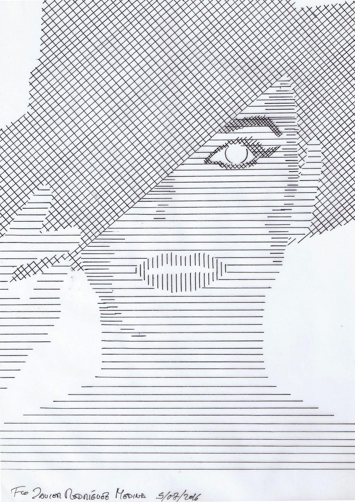 Trama lineal mediante instrumentos de dibujo.] Composición, en base ...